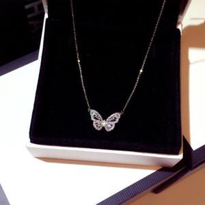 Hot Feminino Collares 925 Sterling Silver Nimble colar de pingente de borboleta para mulheres pequena multidão Projeto Cadeia De Clavícula Bijoux