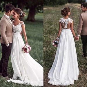 Cap-Sleeves Chiffon Spitze Appliqued Braut Kleider Sweep Zug mit Gürtel Vestido de Noiva 2019 Brautkleider Trouwjurk