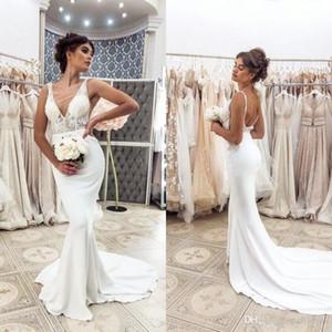 Sexy Deep V-шеи с бедным свадебным платным кодом поезда Кружева Vestidos de 2020 арабский ASO EBI русалка свадебные платья элегантные атласные новинки