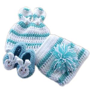 Sevimli Yenidoğan Paskalya Bunny Kıyafet, El Yapımı Örgü Tığ Erkek Bebek Kız Tavşan Bunny Şapka Bezi Kapak ve Ayakkabı Set, Bebek Fotoğraf Prop