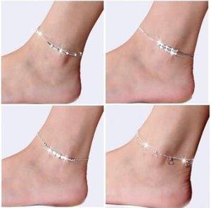 925 sterling bracelet de cheville de ruban pour les femmes pied bijoux incrusté Zircon bracelets de cheville Bracelet sur une jambe Cadeaux de personnalité MOQ 35 pcs