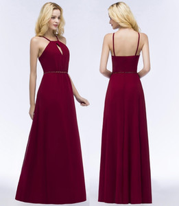 Burgundy Chiffon Bridesmaid Dresses Halter Neck Backless Evening Gowns Hollow Back Floor Length Wedding Guest Maid Of Honor Dresses