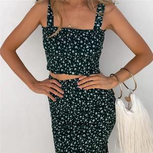 Impresión floral juegos ocasionales sin mangas de la raya vertical cuello en mitad de la pantorrilla vestidos para mujer diseñador de dos piezas de los vestidos de moda