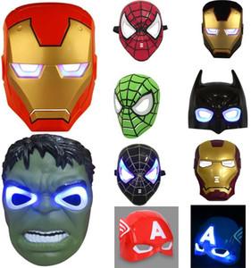 10 Stil Licht Halloween Weihnachten Maske Cartoon Halloween Cosplay Iron Man Spiderman Bildunterschrift Maske für Jungen und Mädchen Cosplay