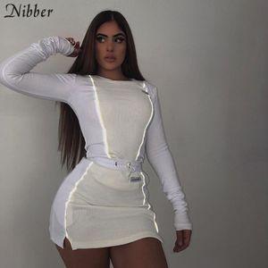 Nibber moda Yansıtıcı patchwork spor 2pieces setleri 2019new beyaz örgü kadın, mini gömleklerinin etekleri takım elbise vuruşunu başında femme Y200110