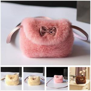 Girls Fashion Cute Fluff Mini Bowknot Crossbody Bags Soft Fur Handbags Bag Purse