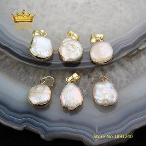 10pcs pequena pérola pingentes Fine Jewelry, Freeform Shell Pearl White com Encantos de Ouro de cobre Pendentifs Artesanato Colar YT67