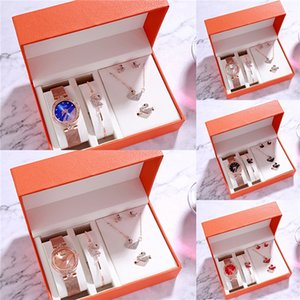 Women Quartz Watch Lattest 4 Colors Wristwatch Set Bracelet Bangle 18K Gold Plated Crystal Opal GENEVA Watches#870