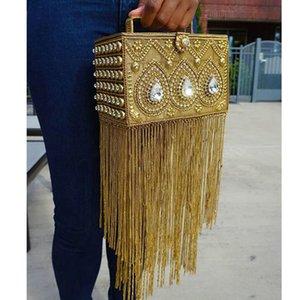 DOYUTIG Inde Conception Femmes Long glands main-fait strass perles boîte Embrayages Dame Classique Boîte De Soirée Sacs pour le mariage F697