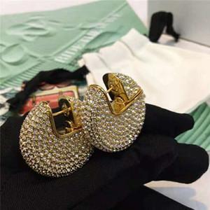 Haut de gamme femmes boucles d'oreilles plaqué or jaune Full CZ Cubic boucles d'oreilles cerceaux pour filles femmes pour la fête de mariage beau cadeau