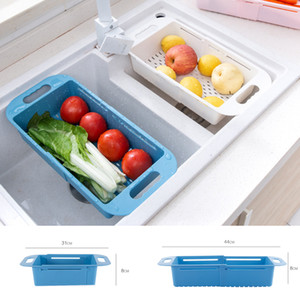Retrattile Lavabo scarico di plastica blu Drain Blu Fruit Basket Kitchen Sink Sink Rack Home Kitchen Strumento XD23594