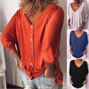 여성의 V 넥 박쥐 긴 소매 뒤로 버튼 여성의 V 넥 박쥐 긴 소매 T 셔츠 위로 뒤로 버튼의 T 셔츠 느슨한 정상을 풀어