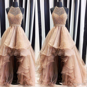 Brown Organza Chegada Nova Alta Baixa A linha de vestidos de baile 2019 Lace Jewel frisada mangas Tulle hierárquico Saias vestidos de noite vestidos de árabes