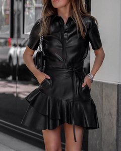Detalle vestido de volante de las mujeres de manga corta ajustado de los marcos del cuero de la PU vestido de otoño 2019 Slim Fit Negro Profundo O-Cuello flaco vestidos Y200107
