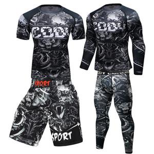 Rashguard Jiu Jitsu T Shirts aptitud de los hombres boxeo Jerseys Pantalones Set BJJ Kickboxing Muay Thai shorts de gimnasia Rash Guard Sportsuit