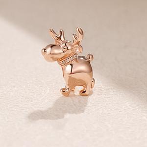 Chapado en oro rosa feliz reno encanto del grano con Cz Fit Europea Pandora Charm Bracelet Necklace
