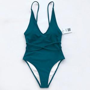 Regarder les nuages solides d'une seule pièce Maillot de bain dos nu col en V profond Sexy Summer Bikini Set Ladies Beach Maillot de bain Maillots de bain