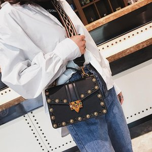 British Leather Fashion retrò femminile Handbag PU Donne Borse Rivet Tote Ragazze Shoulder Bag Messenger V970702
