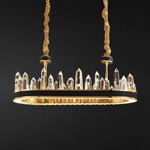 Novo Luxo Lâmpadas minimalista moderno Atmosfera Living room Couro Circular Iceberg Quarto candelabro de cristal