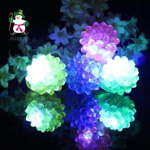 Led Flashing Strawberry Finger Ring Bar Toys Light Up Elastic Rubber Blinking Ring For Prom Party Christmas Gift E1676