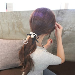 Luxury High-grade Pearl ring fashion ladies tie lace knot hair rope Knot Band Wide-brimmed Pure Color Ribbon Knot Hair Band