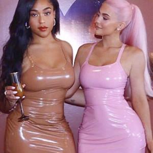 2019 Nuovo vestito sexy Kylie Jenner rosa natale donne inverno vestito midi PU Shine abito in pelle fasciatura abiti da sposa con tracolla