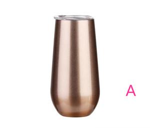6 oz de huevo Copas 20pcs / lot del Vino Vaso de cerveza tazas de champán Vaso de acero inoxidable de oro rosa termo vacío Frasco con 17 colores Las tapas