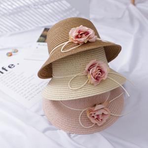cap chapéu de balde Meninas da praia Sun elegante Sunhat Verão Flower Straw Hat das mulheres para Lady Church Hat óssea Chapeu