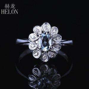 Helon Solid 10K Белое Золото Flawless Овальный 4x6mm Природные Аквамарин бриллиантовое обручальное кольцо Свадьба Gemstone Женщины изящных ювелирных изделий