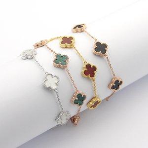 En kaliteli paslanmaz çelik altın zaman Mini 5 çiçek kadınlar lüks moda takı için dört yapraklı yonca çekicilik bilezik kaplama