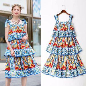 2019 Runway Catwalk DGstyle Summer Casual Beach Dresses Sundress Floral Print Strap Evening Party Formal Dresses Sundress Vestidos Femme