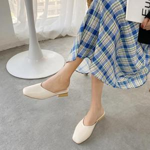 Краткие коренастые деревянного низкие каблуки покрытие ног тапочек женщины ретро квадратных мул ног слайдов противоскольжение Slingback швейного sandalias Mujer
