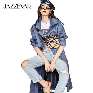 JAZZEVAR 2019 Autumn New Casual Women's Cotton X-Long Hooded Trench Coat Loose Clothing Oversized outerwear Good