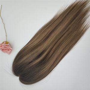 Бесплатная доставка горячей продажи Customized Highlight Color Mono шнурок с Pu Around Toppers человеческих волос для прореживания волос женщин