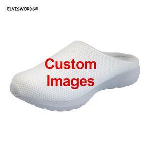 ELVISWORDS пользовательские изображения/логотип/текст/название шаблона случайные женщины сандалии лето воздуха сетки дышащий дамы дома сандалии тапочки 2020