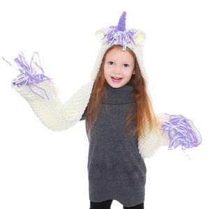 Детские Единорог вязать шапки с шарфом дети мальчики ветрозащитные шапки шарф кисточки малыш Девушки милые длинные обернуть мультфильм шапки TTA1600