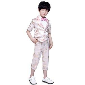 Children's Formal Suit Set Pink Spring Summer Flower Boy Wedding Party Dress Costume Kids Blazer Shirts Pants Clothing Sets