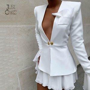 Justchicc осень формальные 2 шт набор женщин V шеи кнопка элегантный из двух частей набор белый топ и юбка офис сексуальные наряды 2019
