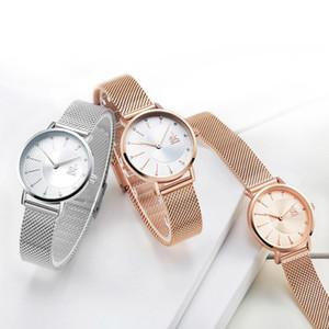 Creative Femmes Montres De luxe Rosegold Quartz Dames Montres Relogio Feminino Maille Bande Montres Reloj Mujer avec la boîte