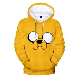 erkek Kawaii Boyutu için sıcak satış Macera Zaman Hoodies sweatshirt 3D baskı Moda Karikatür Sarı Hoodie serin kapşonlu XXS-4XL