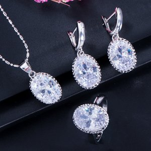 many colors big oval 925 sterling silver jewelry set for women earrings ring necklace set top cubic zircon