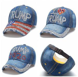 دونالد ترامب الدينيم كاب البيسبول في الهواء الطلق أحب ترامب 2020 الرياضية حجر الراين قبعة مخطط USA العلم كاب سنببك LJJA3781