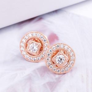 Gros-Vintage CHARM CZ Boucles d'oreilles diamant Bijoux de luxe Designer pour Pandora Argent 925 avec la boîte Lady Boucles d'oreilles