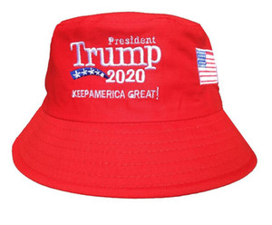 Trump 2020 Embroidered Bucket Cap Keep America Great Hat Cotton Sport Fisherman Cap Fashion Travel Camping Sun Hat