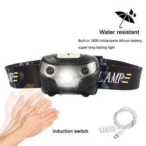 3000lm Mini rechargeable LED Lampe frontale 3000lm corps détecteur de mouvement Phare Camping Lampe de poche Lampe torche Head Light Avec USB