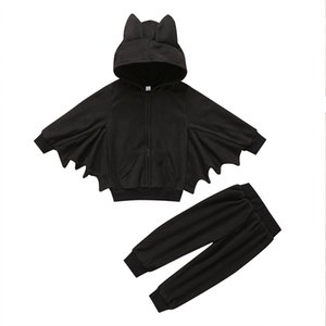 2019 Halloween-Schläger-Kostüme Baby-Kind-Kleidung stellten Kleinkind-Jungen-Mädchen-3D-Ohren Hooded Zipper Tops + Pants Outfits Kinder Cosplay