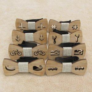 Clássico de madeira de bambu Crianças laços Laser Cut madeira Crianças borboleta Bow knots Gravatás Cravat