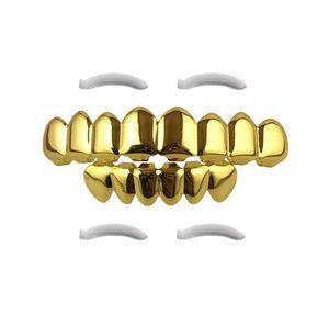 Hip Hop Grillz Oro 2019 Dientes nuevo de la manera de oro plateado Ambiental Dental Parrillas venta al por mayor de los apoyos de Halloween Conjunto de 2 piezas