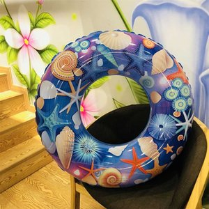 Children Cartoon Starfish Printing Swimming Ring Inflatable Floating Ring Kids Pool Toys Safe Seat water Toy Dumbbells