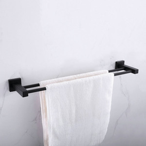 Bathroom Accessories Matte Black Square Stainless Steel Towel Rack Wall Mounted Towel Rail Bar 1 bar 2 bar